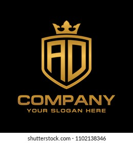 Letter AD, initial with shield and crown, Luxury Logo Design Vector