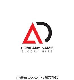 Letter AD logo design template elements