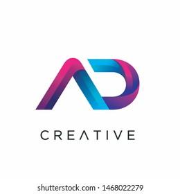 Letter AD Logo design templates, modern letter logo