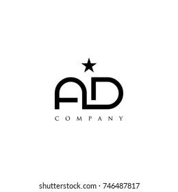 letter ad star logo