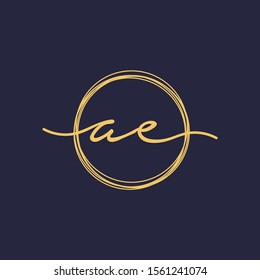 Letter AE or A E Initial with circle handwriting concept. handwriting logo of initial signature, wedding, fashion, jewelry, boutique, and botanical with creative template for any company or business -