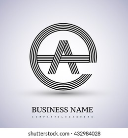 Letter AE or EA linked logo design circle G shape. Elegant black colored, symbol for your business name or company identity