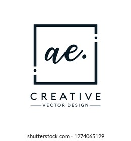 Letter AE Logo. Initial Letter Design Vector Luxury Colors