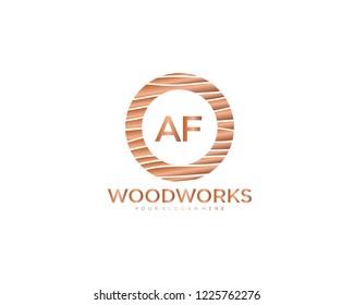 Letter AF initial wood logo vector