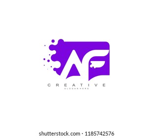 Letter AF Logo Design Vector with Abstract Square Shape Dots