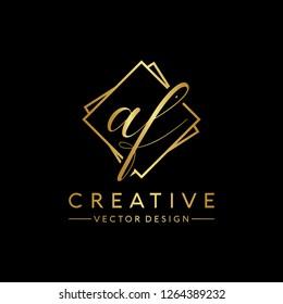 Letter AF Logo. Initial Letter Design Vector Luxury Colors