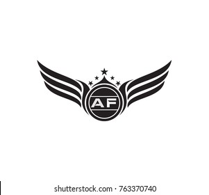 Letter AF logo template. wing icon