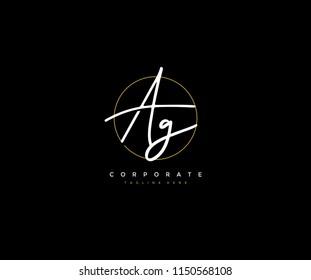 Letter AG Logo Manual Elegant Minimalist Signature Logotype