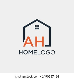 letter AH Line House Real Estate Logo. home initial A H concept. Construction logo template, Studio ,Home and Real Estate icon, - vector