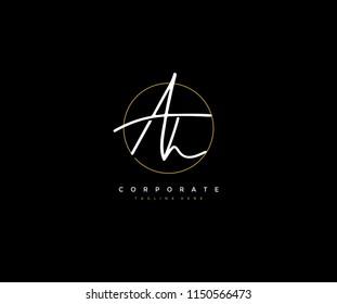 Letter AH Logo Manual Elegant Minimalist Signature Logotype