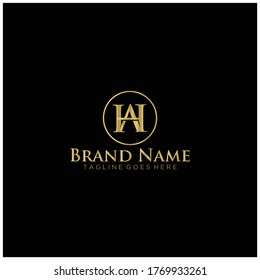 Letter AH luxury logo.Template logo.Luxury logo.Gold logo.
