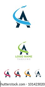 Letter A Air Travel Logo Design Template