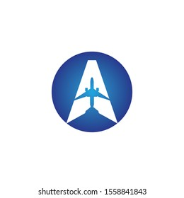 letter A Air travel logo design template-vector