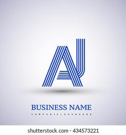 Letter AJ linked logo design. Elegant blue colored, symbol for your business name or company identity.
