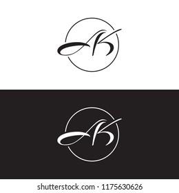 letter ak logo circle line