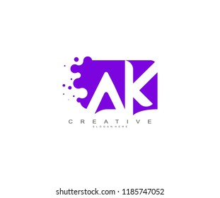 Letter AK Logo Design Vector with Abstract Square Shape Dots