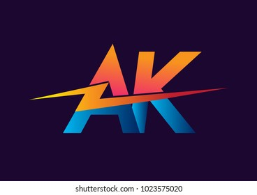 Letter AK logo with Lightning icon, letter combination Power Energy Logo design for Creative Power ideas, web, business and company.