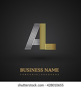 Letter AL linked logo design. Elegant silver and golden colored symbol for your business name and corporate identity.