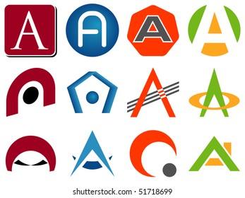 Letter A Alphabet Design Icons Set