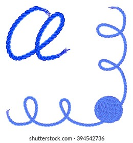 Letter A - Alphabet, font vector - yarn, rope, cable - For handmade products.