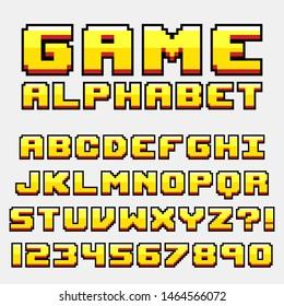 Letter alphabet pixel retro video game style