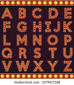 Letter alphabet sign marquee light bulb vintage carnival or circus style ,Vector illustration