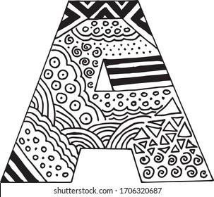 Letter A alphabet symbol - hand drawn, paint, vector illustration