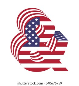 e47b5d3eff96 Letter ampersand from 3d with American flag texture wrapped. Volume USA  vector font