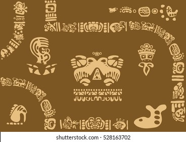 Letter from the ancient tribes. Images of characters of ancient American Indians.The Aztecs, Mayans, Incas.