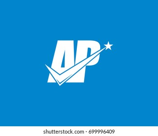 Letter AP check mark logo white on blue background