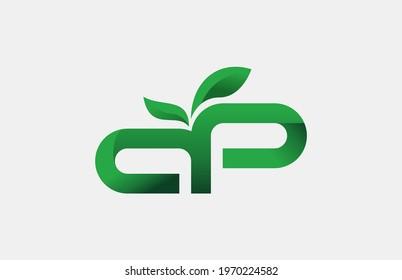 LETTER AP GREEN LEAF LOGO