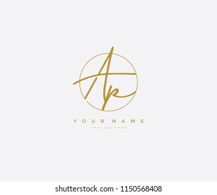 Letter AP Logo Manual Elegant Minimalist Signature Logotype