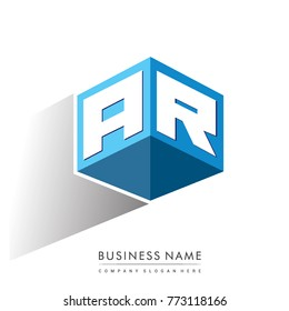 Letter AR logo in hexagon shape and blue background, cube logo with letter design for company identity.