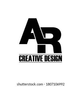 Letter AR simple logo design vector