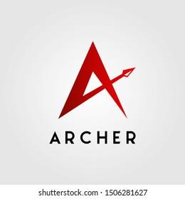 letter a archer arrow head logo design vector illustration