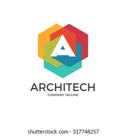 A letter architect logo icon design template element. A vector letter isolated on white background.