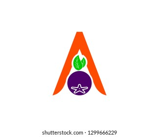 Letter A With Aronia berry Logo Concept