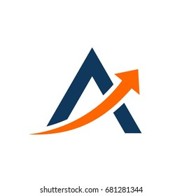 A Letter with Arrow Logo Template