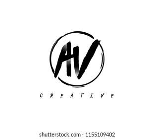 Letter AV Circle Line Abstract Artistic Urbane Logotype