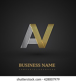 Letter AV linked logo design. Elegant silver and golden colored symbol for your business name or company identity.