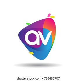 Letter AV logo with colorful splash background, letter combination logo design for creative industry, web, business and company.