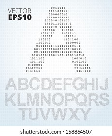 Letter A-Z, font from binary code listing, all alphabet