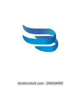 Letter B 3d elegant ribbons style logo