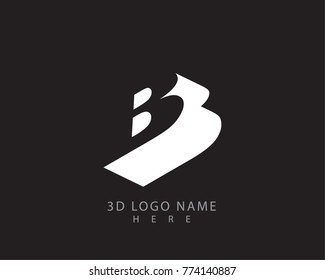 letter B 3D logo vector with black background