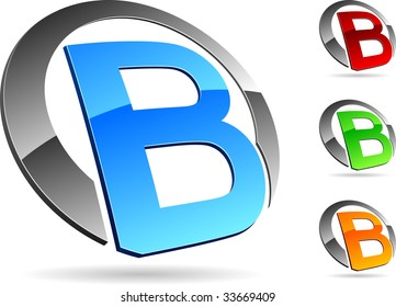 """Letter """"B"""" 3d vector icons such logos."""