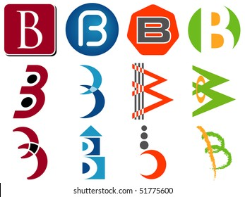 Letter B Alphabet Design Icons Set