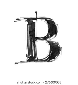 letter B. Alphabet symbol - grunge hand draw paint / vector illustration