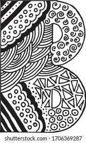 Letter B alphabet symbol - hand drawn, paint, vector illustration