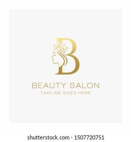Letter B Beauty Salon Logo Design Vector Icon