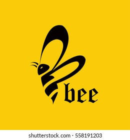 Letter B bee flying abstract logo template elements black yellow